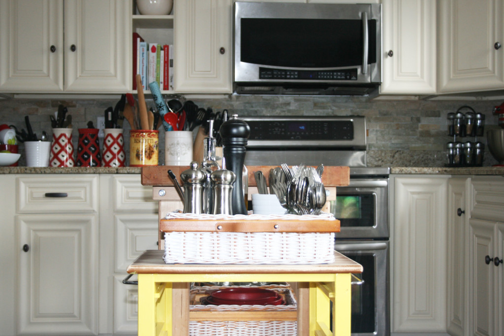DIY mini kitchen island yellow- 25