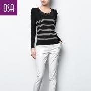 OSA2013春装新款女装 修身弹力娃娃领毛针织衫H32059