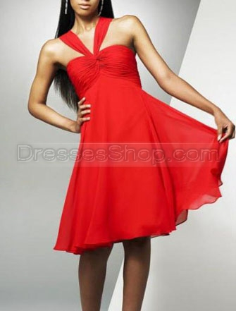 Sassy A-Line/Princess Knee-Length Soft Transparency Ruched Belt Evening Dress/Prom Dress