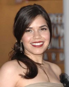 You can use a ceramic flat iron to make subtle waves like America Ferrera's!