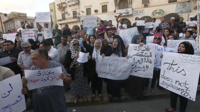 Demonstrators on September 12 gather in Libya to condemn the killers and voice support for the victims in the attack on the U.S. Consulate.