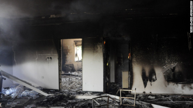 Half-burnt debris and ash cover the floor of one of the consulate buildings on September 12.