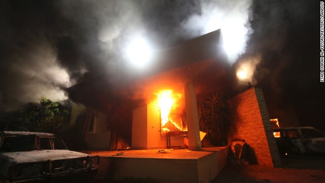 The U.S. Consulate in Benghazi is seen in flames on September 11.