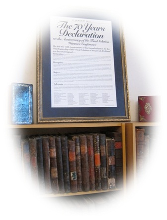 Seventy Years Declaration (framed, with Jewish books)