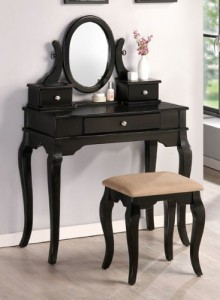 Curved Leg Black Vanity Set