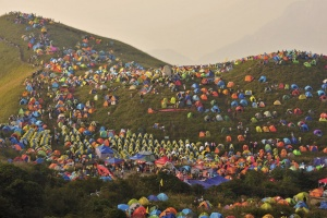 Numerous tents are seen during the International I Camping Festival in Mount Wugongshan of Pingxiang, Jiangxi province, China. REUTERS/Stringer