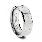 Men's Diamond Inlay Tungsten Rings