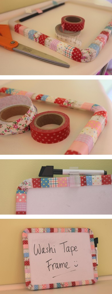 craft DIY upcycle masking washi tape whiteboard photo picture frame by cassiefairy