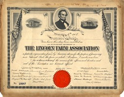 Lincoln Farm Association Certificate