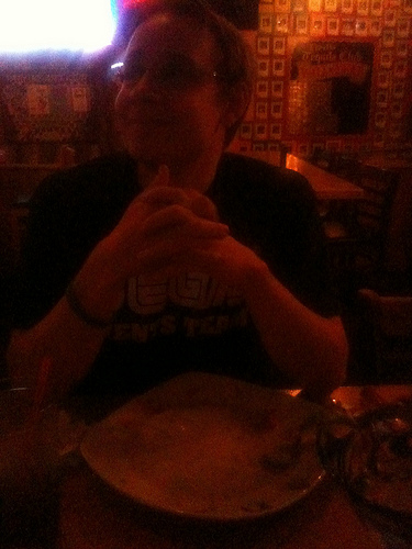 Aaron tfinishes the ice cream challenge at Fred's Mexican Cafe in San Diego, CA