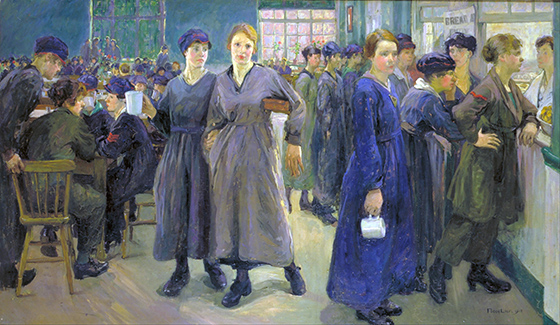 Flora Lion, Women's Canteen at Phoenix Works, Bradford, 1918, oil on canvas, 1066 x 1828 mm (Imperial War Museum)