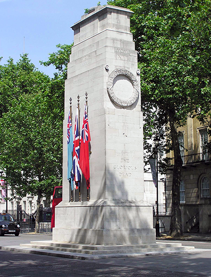 Edward Luytens, Whitehall Cenotaph, unveiled 1920, portland stone, London