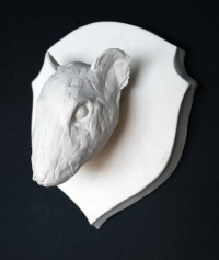 Rat Plaque - Porcelain and transparent glaze