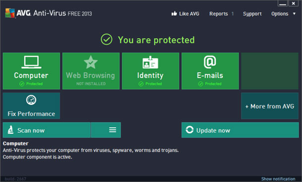 AVG Antivirus 2013 screenshot