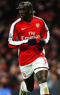 Bacary Sagna playing for Arsenal