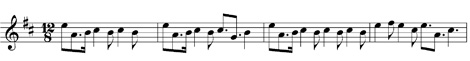 Graphic showing musical notation for a pibroch urlar
