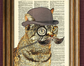 Wholesale lot o' Dandy CAT with fancy monocle and bushy mustache upcycled dictionary page book art Pack of 35 prints collage o rama