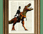 President Abraham Lincoln riding a dinosaur beautifully upcycled dictionary page book art print