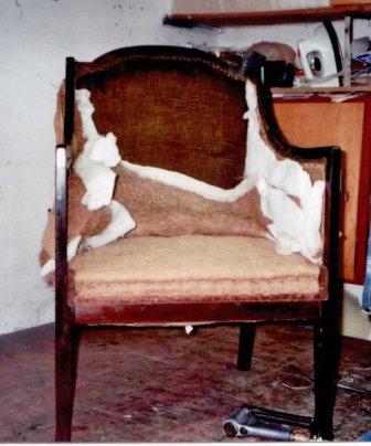 Art-deco stoel oude stof