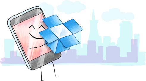 A graphic depicting a mobile phone hugging a Dropbox