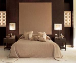 интерьер спальни цвет капучино молочно-белый шоколадный