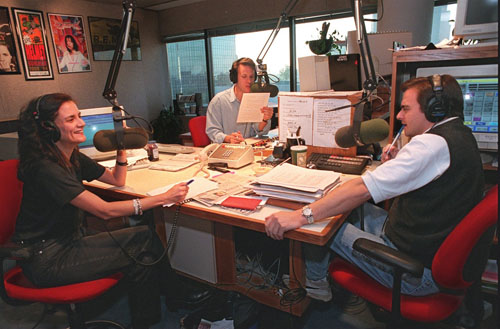 Leslie Fram, Steve Barnes and Jimmy Baron back in the heyday of the Morning X in 1996. CREDIT: Charlotte Teagle/AJC