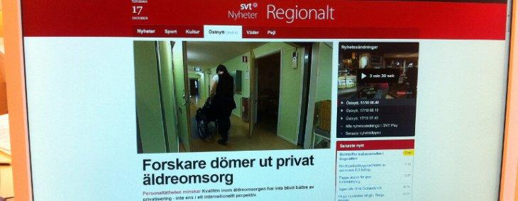 SVT Östnytt om äldreomsorg