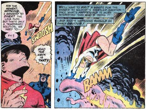 Supermans cousin Power Girl (and her now-famous cleavage) arrive in time to save the day.
