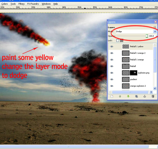 Creating Fireball and Explosion effect in Gimp