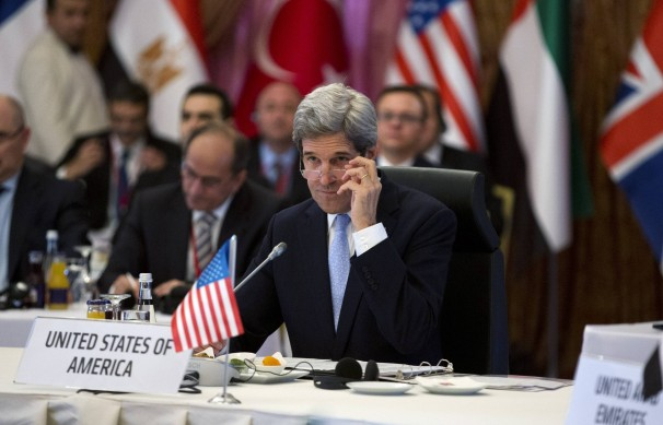 "U.S. Secretary of State John Kerry attends a ""Friends of Syria"" group meeting hosted by Turkish Foreign Minister Ahmet Davutoglu in Istanbul on April 20. The U.S. plans to double its aid to the Syrian opposition, an official said."