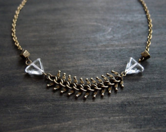 cubes, triangles, and fishbone antique brass necklace