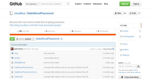 Hide and Reveal the Contents of a Password Input Field - hideShowPassword