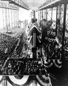In this file photo taken Jan. 21, 1954, spectators gather around the nuclear-powered submarine USS Nautilus (SSN 571) during a christening ceremony.