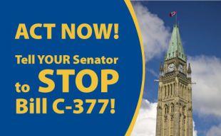 Navigate to Tell YOUR Senator to join the revolt against Harper's Bill C-377!