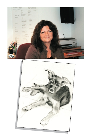 Artist Jane West and her sketch of Ruby