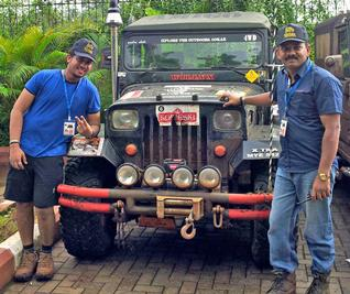 Ayub Khan with his navigator Sahil Sheikh, who won the national-level title at the 'Maha Monsoon Madness 4x4 Off Road Rally 'MCUBE 2012' organised by Mudcats at Khalapur Track near Mumbai on July 13 and 14.