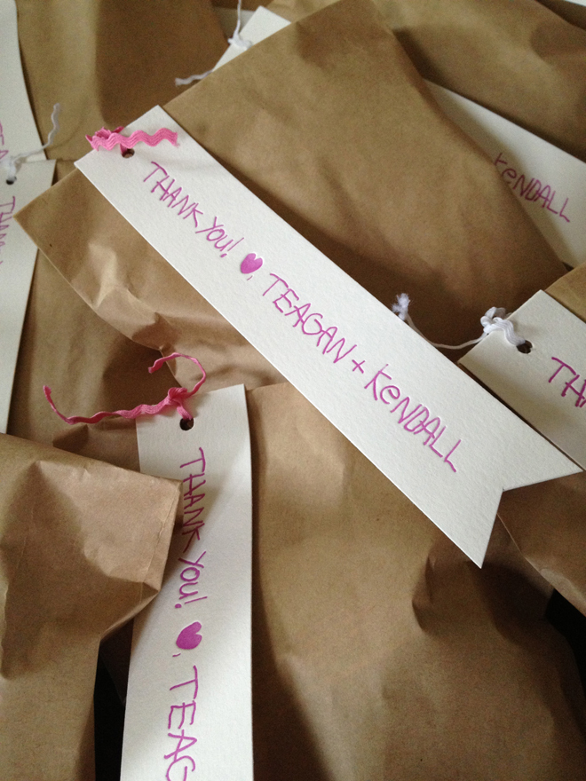 childrens letterpress gift tags and kraft bags
