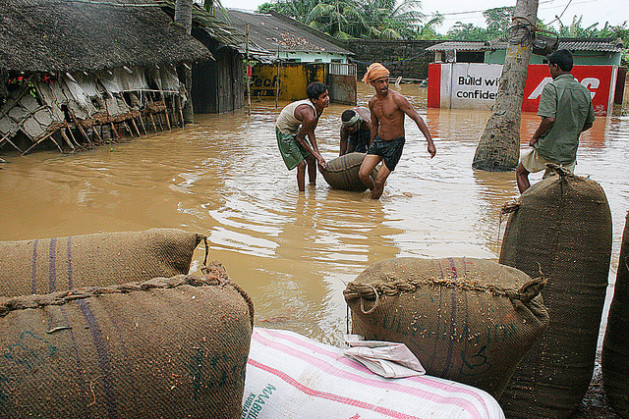 Paddy stock being salvaged from open space storage in Bhubaneswar as monsoons arrive early this year. Credit: Manipadma Jena/IPS