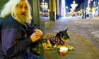 A homeless man and his dog in Leeds who are being helped by the Hearthounds charity