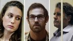Alex Harris, Keiron Bryan and Peter Willcox of the Greenpeace ship Arctic Sunrise, in a Russian courtroom
