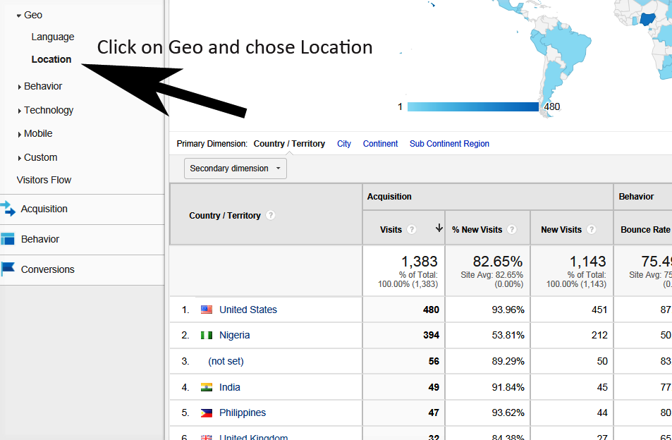 use Google analytics to target US search traffic