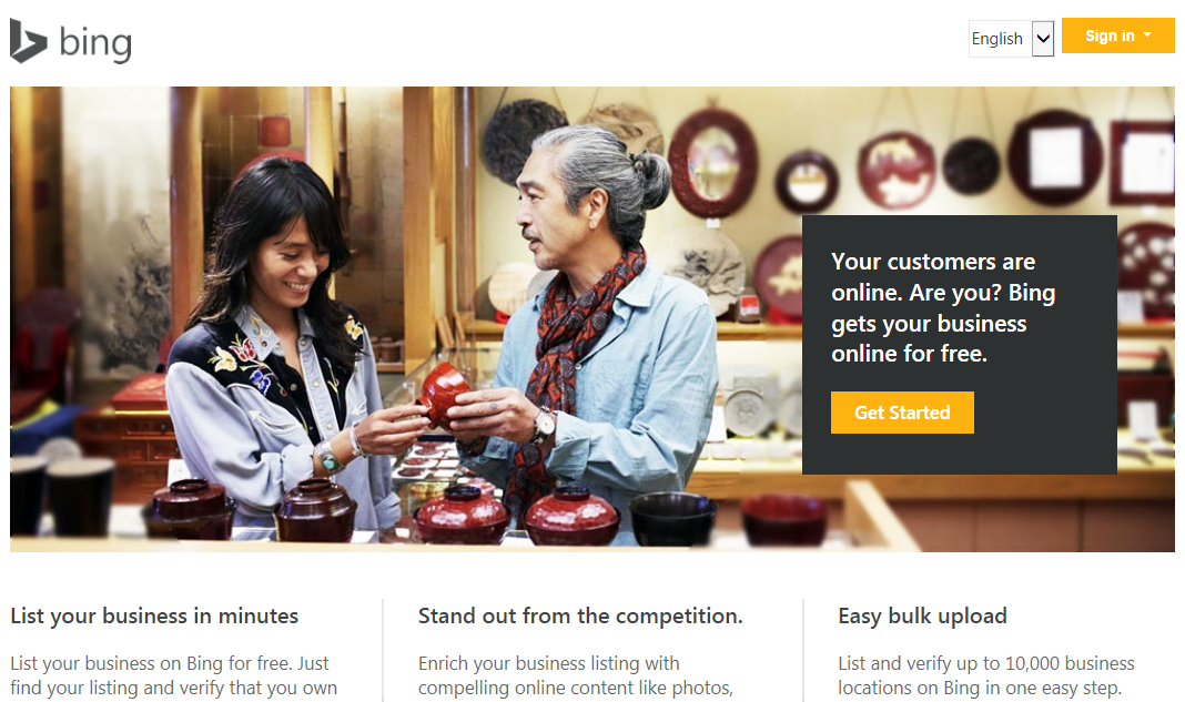 bing places for business to get us and american visitors