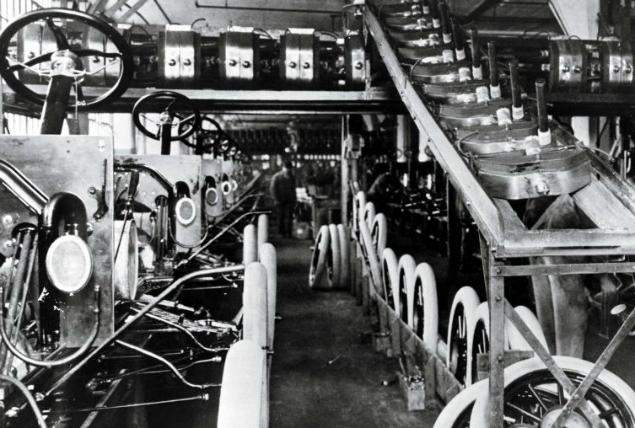 The first assembly line at the Highland Park Ford Plant in Highland Park, United States in 1913.