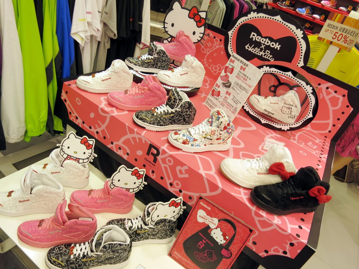 Sanrio also collaborates with international brands, such as Reebok shoes.