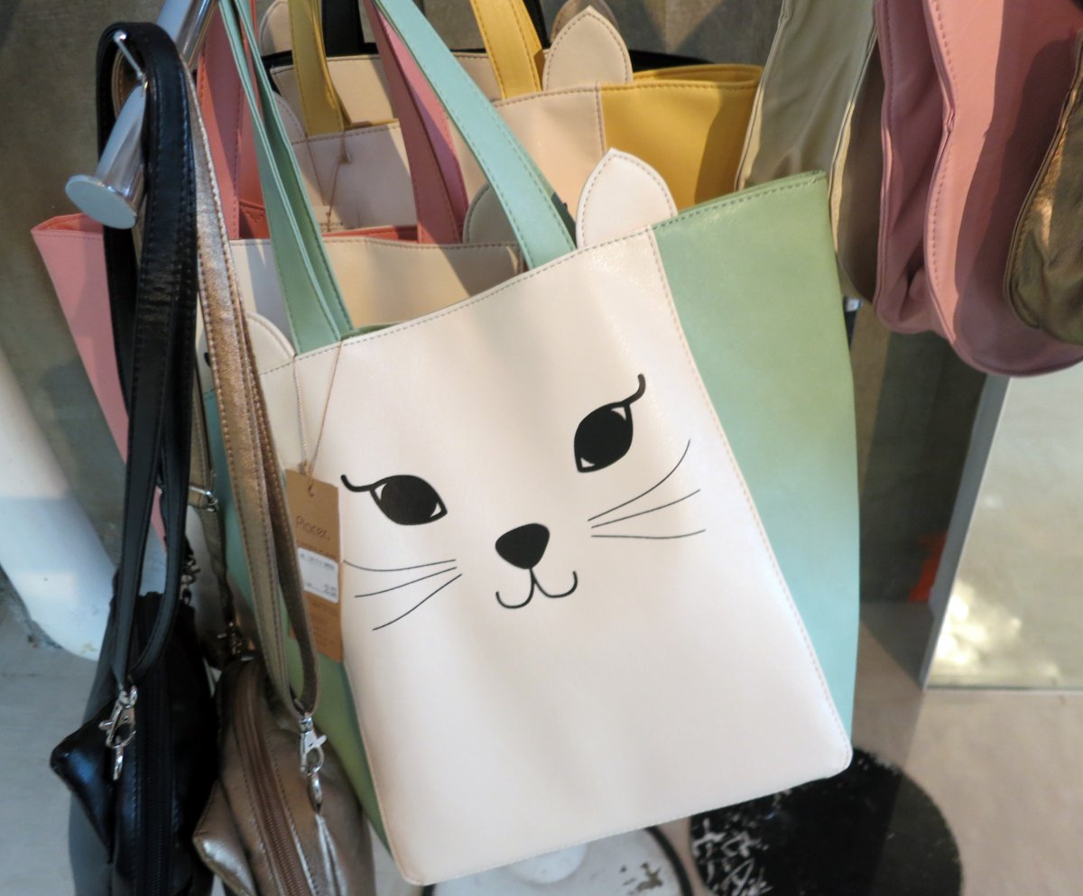Cat-faced purses are hot items in Shibuya 109 and Studio Alta.
