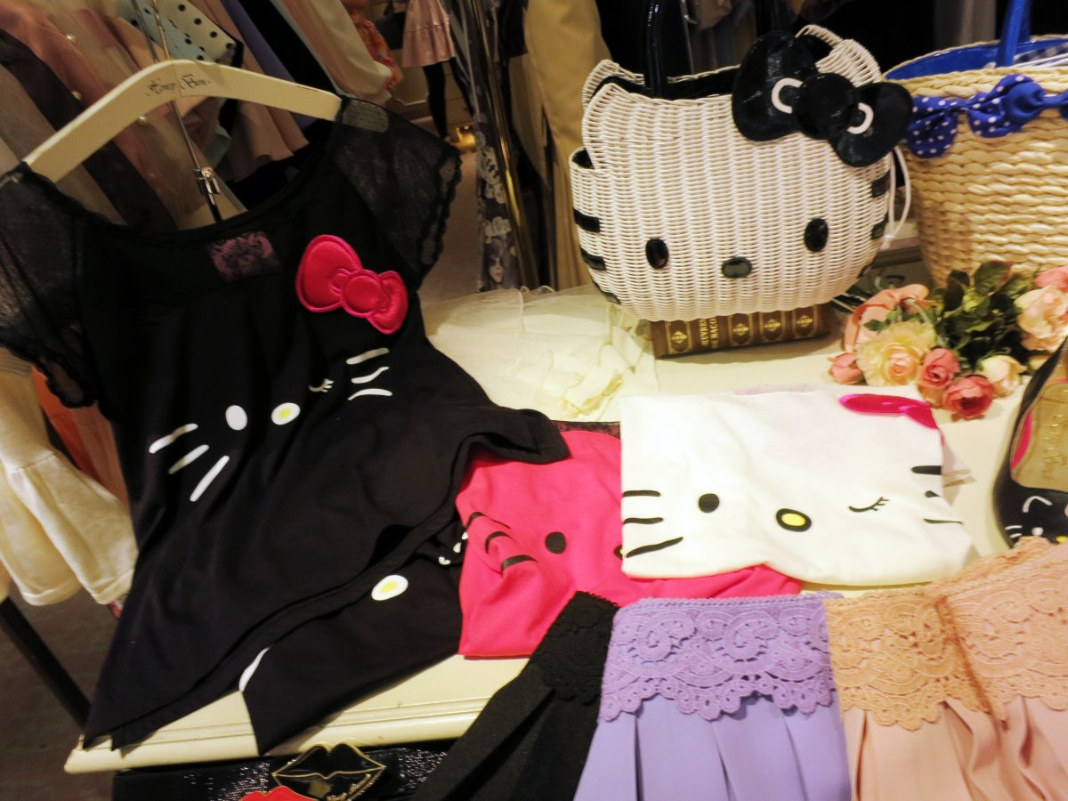 These purses and dresses are sold inside the trendy, young women's department store Shibuya 109.
