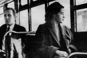 This undated photo shows Rosa Parks riding on the Montgomery Area Transit System bus.