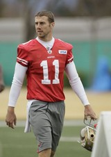 San Francisco 49ers quarterback Alex Smith walks off the field after NFL football practice in Santa Clara, Calif., Friday, Jan. 20, 2012. The 49ers are preparing to host the New York Giants in the NFC championship game on Sunday. (AP Photo/Eric Risberg)