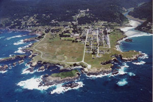 arial view of mendocino