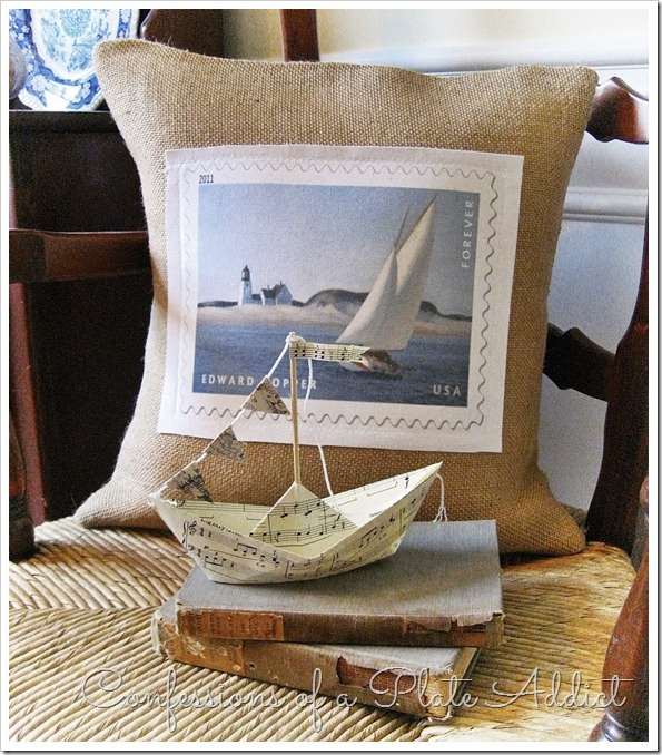 CONFESSIONS OF A PLATE ADDICT Sailboat Pillow